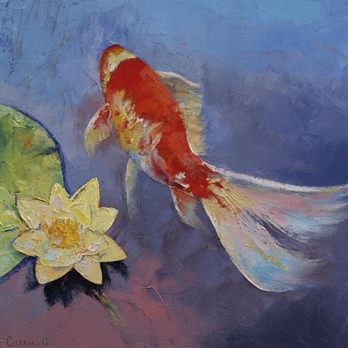 Koi on blue and mauve koi fish art canvas on demand for Blue and white koi fish