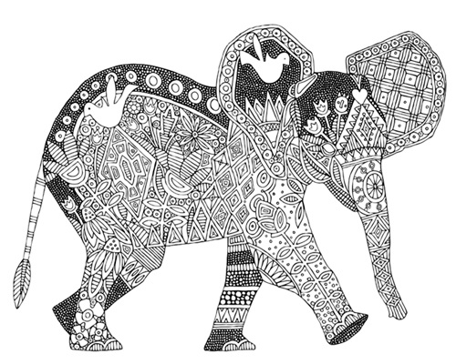 Little Elephant Canvas Image to Color