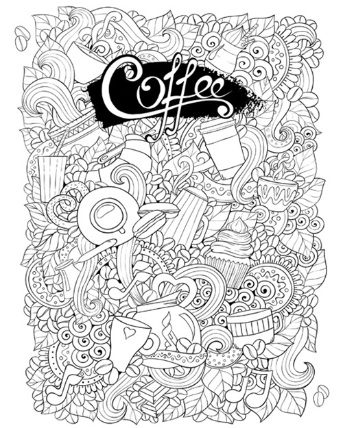 Coffee Image to Color on Canvas