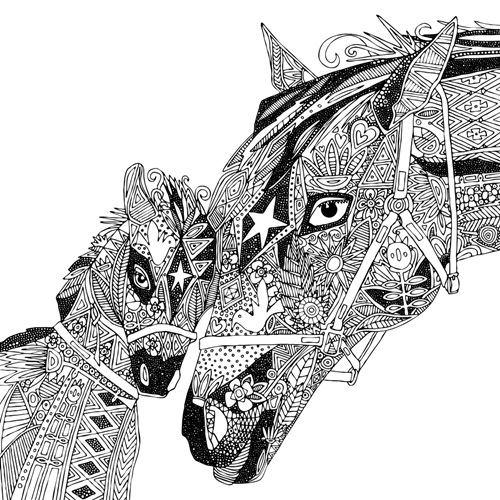 Horse Love | Coloring Canvas - Canvas On Demand®
