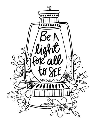 Be A Light Matthew 5 16 Coloring Canvas Canvas On Demand