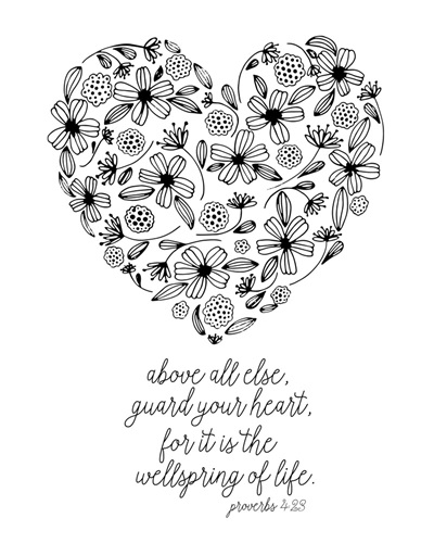 Guard Your Heart Handlettered Coloring Coloring Canvas