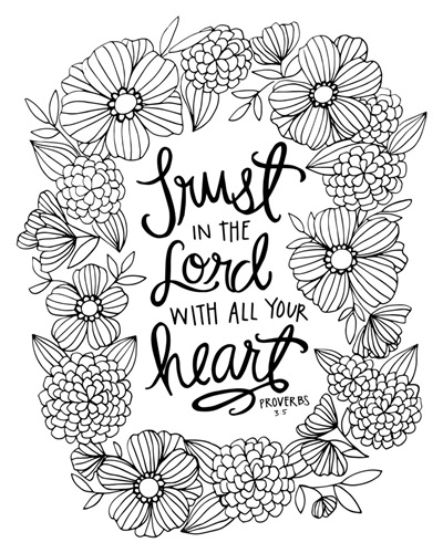 proverbs 3 5 6 coloring page - trust in the lord proverbs 3 5 coloring canvas