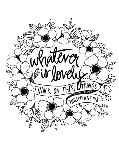 Whatever Is Lovely Handlettered Coloring Coloring Canvas