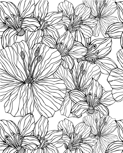 Tropical Flowers Black And White Coloring Canvas