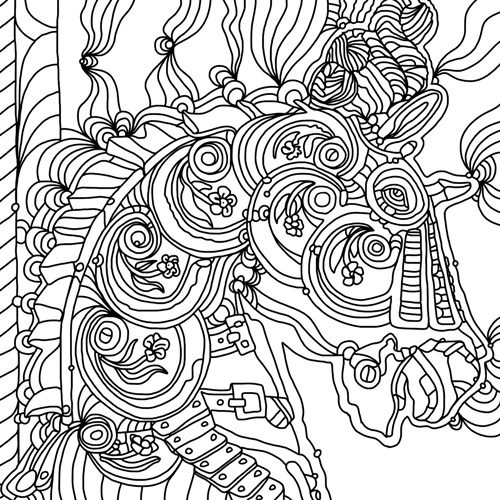 Carousel Pony I Line Art | Coloring Canvas - Canvas On Demand®