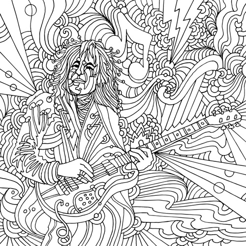 Guitar Player | Coloring Canvas - Canvas On Demand®
