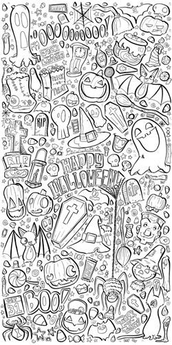 Halloween Night | Coloring Wallpaper - Canvas On Demand®