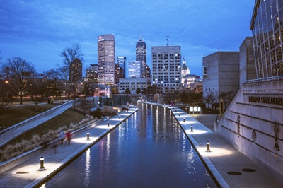 The Indianapolis Riverwalk in the Early Evening