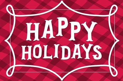 Happy Holidays - red plaid
