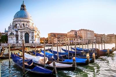 Gondolas in Front of Santa Maria della Salute, Venice, Italy, Europe