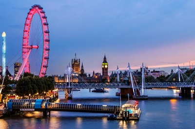 The London Eye, Golden Jubilee Bridge, and River Thames at Dusk, London, England, UK