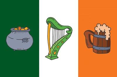 Irish Flag with Symbols