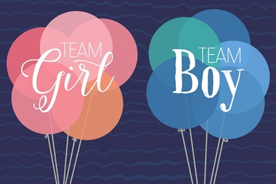 Gender Reveal - Balloons - Square