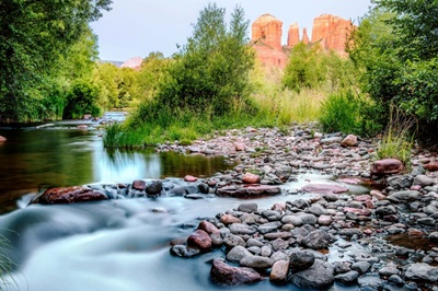 Oak Creek With Cathedral Rock, Sedona, Arizona