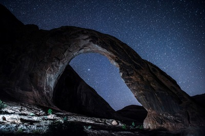West Side Of Corona Arch At Night, Near Arches National Park, Utah