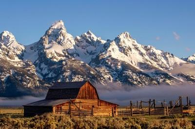 John Moulton Barn With Teton Range, In Grand Teton National Park, Wyoming