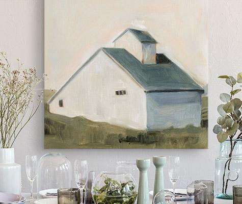 Serene Barn I by Emma Scarvey modern farmhouse canvas on wall above dining room table place settings