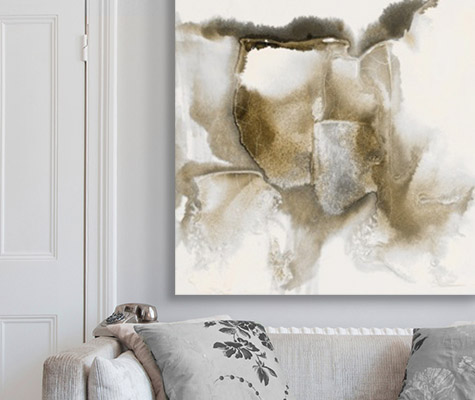 Drifting Sands IIby Scherrer Finch abstract canvas on wall above gray couch with pillows