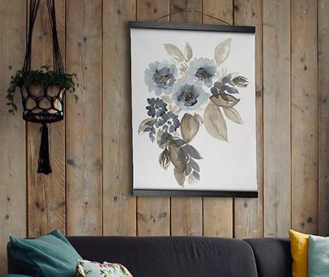 Blue & Chocolate Cascade II by Jennifer Goldberger hanging canvas tapestry art on wood paneling