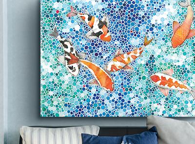 Koi fish art canvas on demand for Koi canvas art