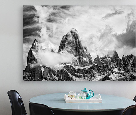 Dramatic Clouds Swirl Over Monte Fitz Roy, Patagonia, Argentina By Joseph Roybal above dining table