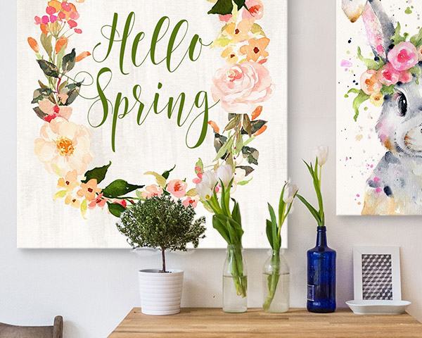 Hello Spring Wreath II By Tara Moss canvas on wall above table with tulips and greenery