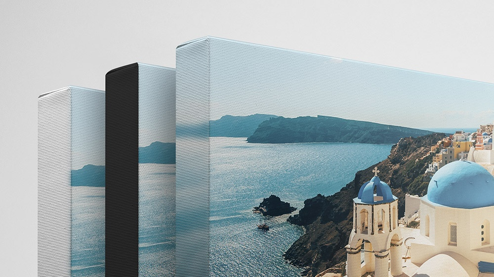 Several canvas prints showing various edge options like white, black, and blur wrap