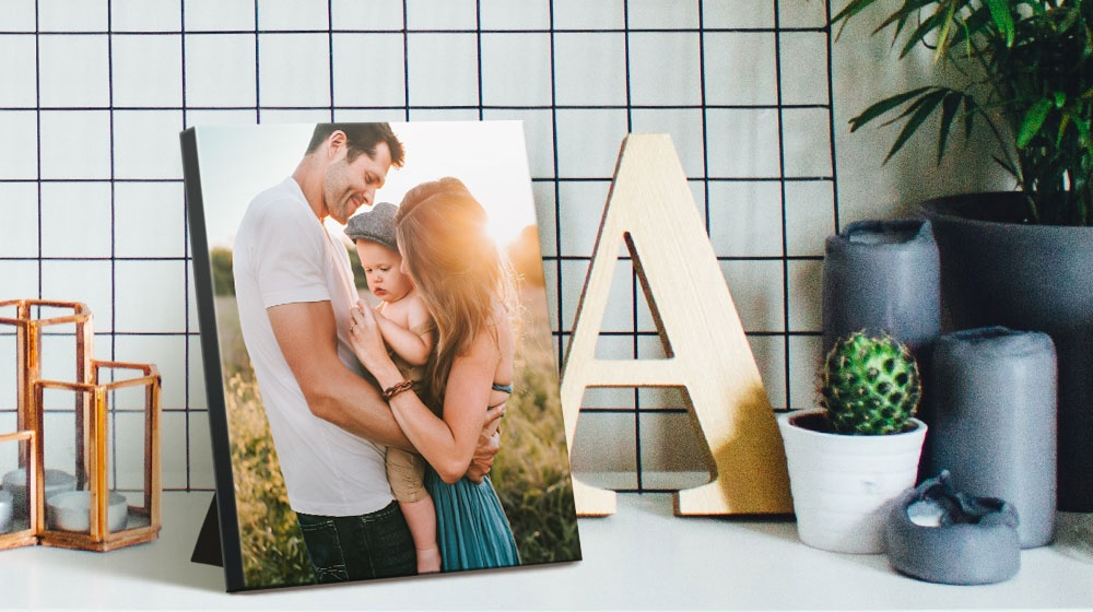 a premium tabletop canvas print on a shelf