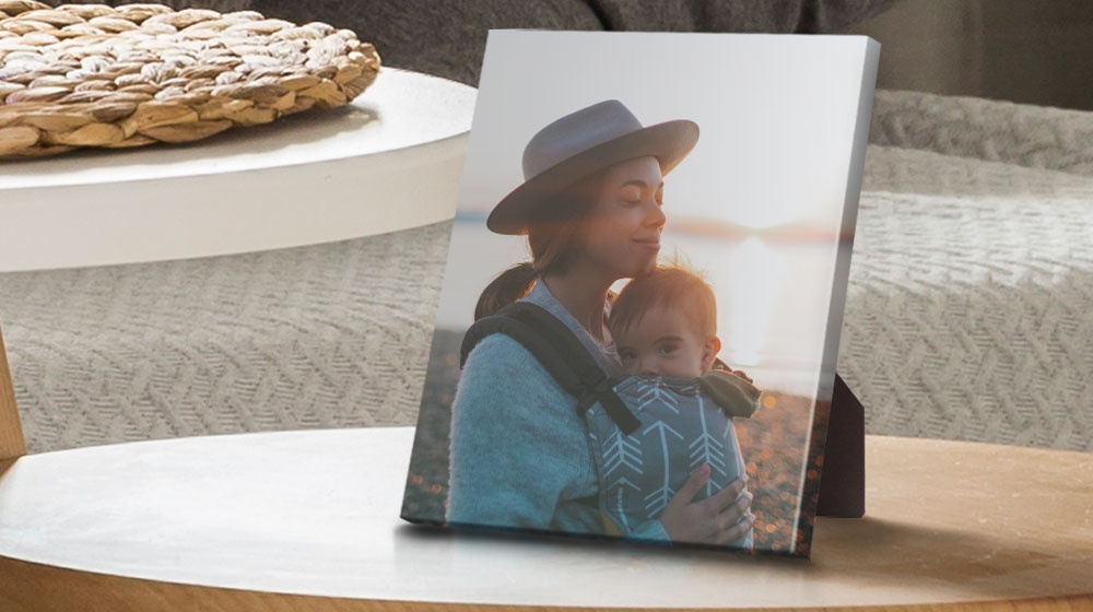 a premium tabletop canvas print on a side table