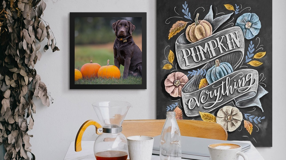 pumpkin spice wall art and framed canvas print in a dinette