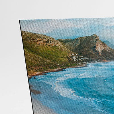 A close-up photo of a flat tabletop canvas print showing thickness and quality
