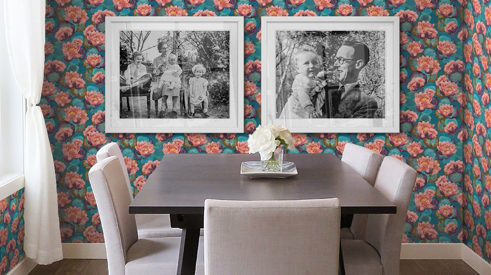 A dining room featuring lotus bloom removable wallpaper pattern and framed black and white prints
