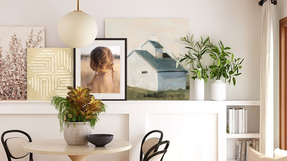 room featuring several modern farmhouse wall art pieces