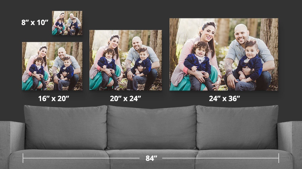 Room setting with 4 popular canvas print sizes shown for scale