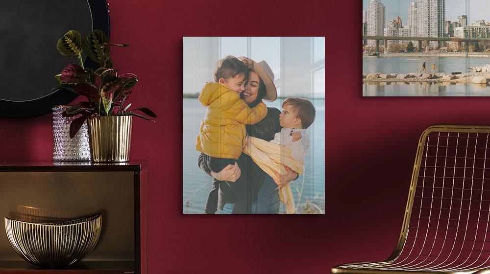 family photo printed on metal