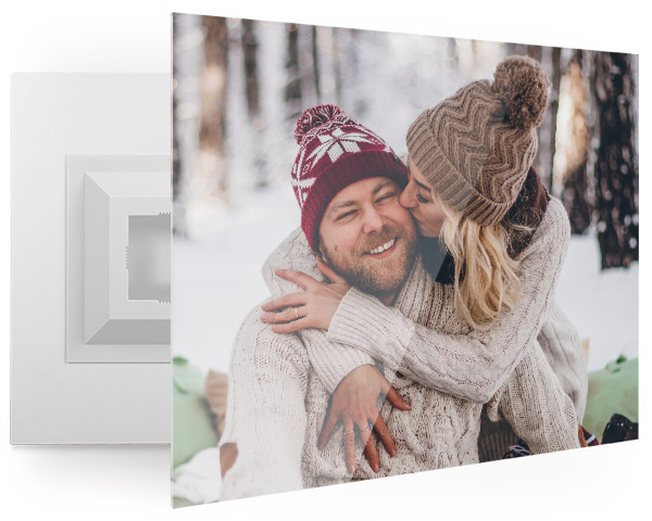 custom acrylic print with photo of winter couple hugging