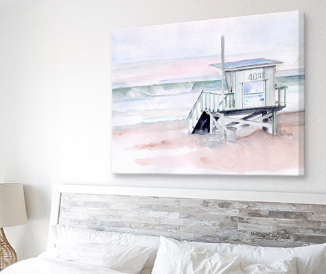 Dawn Beach Break I By Jennifer Paxton Parker beach canvas on wall above bed with wooden headboard