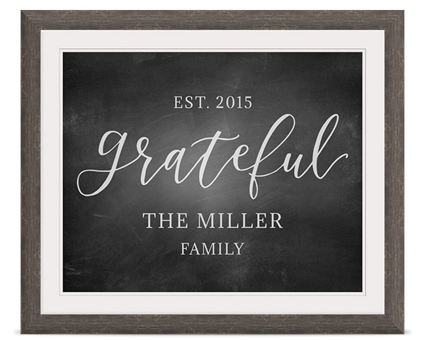 grateful chalkboard framed print with personalized family name and date