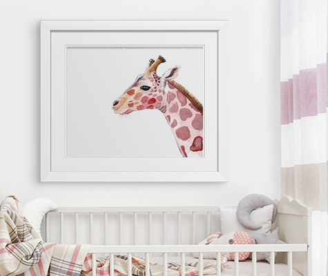 Sunset Safari VIIIby Alicia Ludwig kids art white framed print on wall above crib in girls room