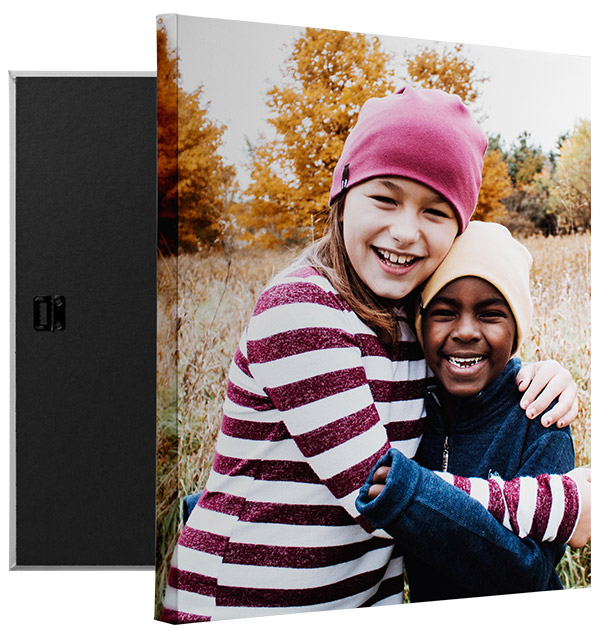 canvas print featuring a photo of two friends in autumn
